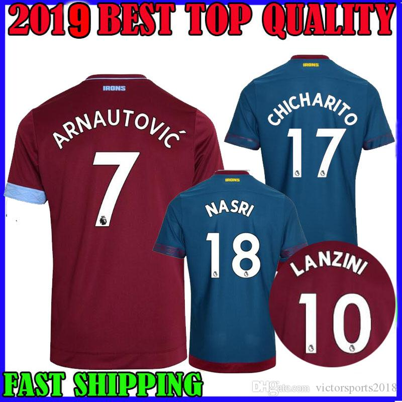 1eee51ad5 18 19 West Ham United Soccer Jersey Home Away Third NASRI 2018 2019 ...