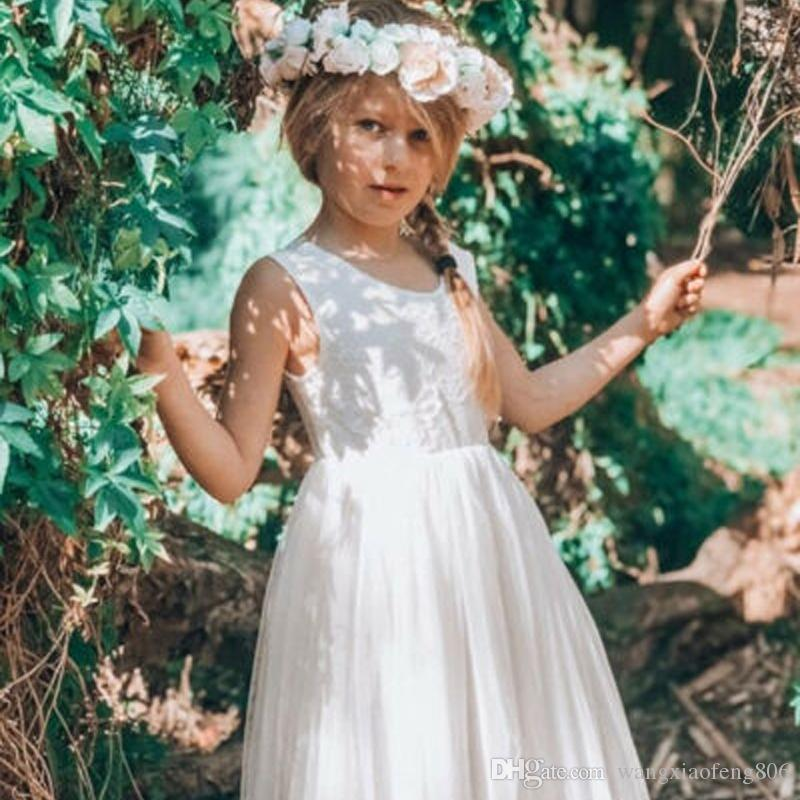 Lace Backless Tulle Tutu Party Summer Sleeveless Wedding Princess Bridesmaid Dresses Toddler Flower Kids Baby Girl Dress