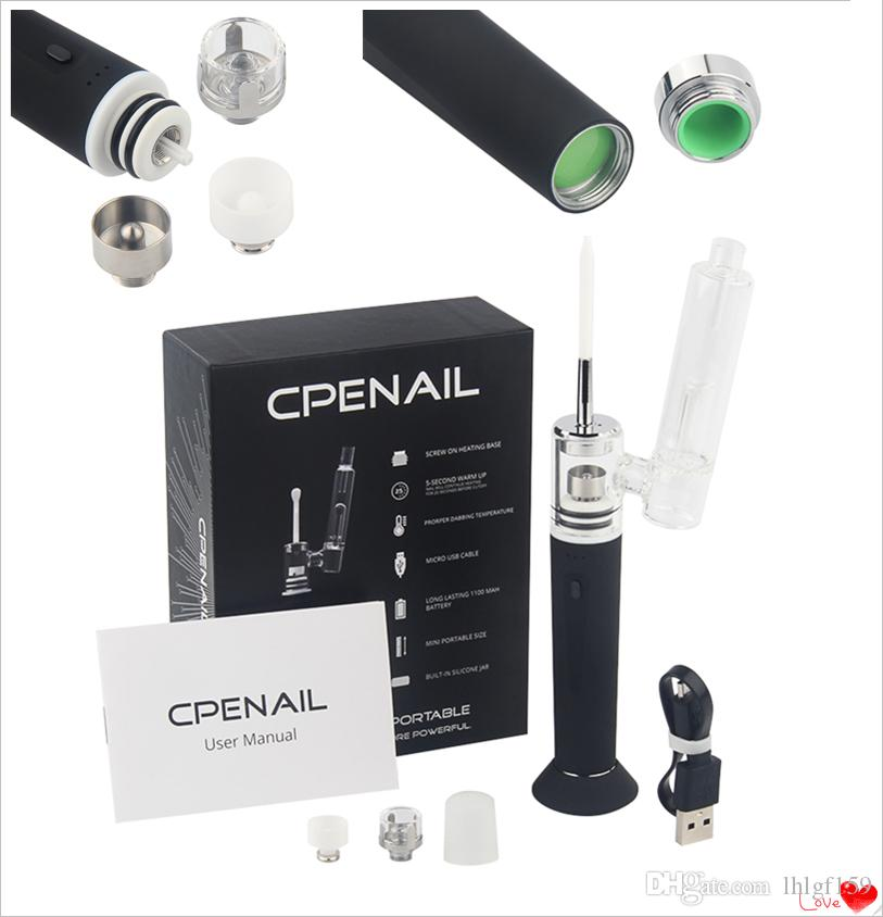 CPENAIL 1100mAh Portable Wax Pen Dab Rig Nail Pot Ceramic Quartz Electric H Nail GR2 pure Ti e cigarette Vaporizer Vapor Glass bongs kits