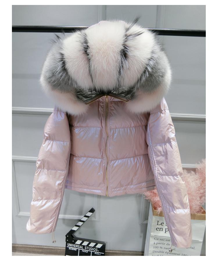 b7b589d5c Women's Winter 90% White Duck Down Jacket Luxury Large Real Fox Fur Hooded  Parka Warm Winter Jacket Pink Gold