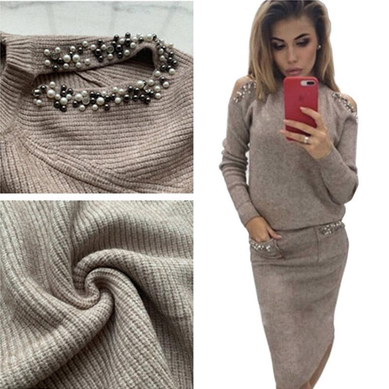 2019 Pearls Knitted Sweater Set Women Long Sleeve Off Shoulder