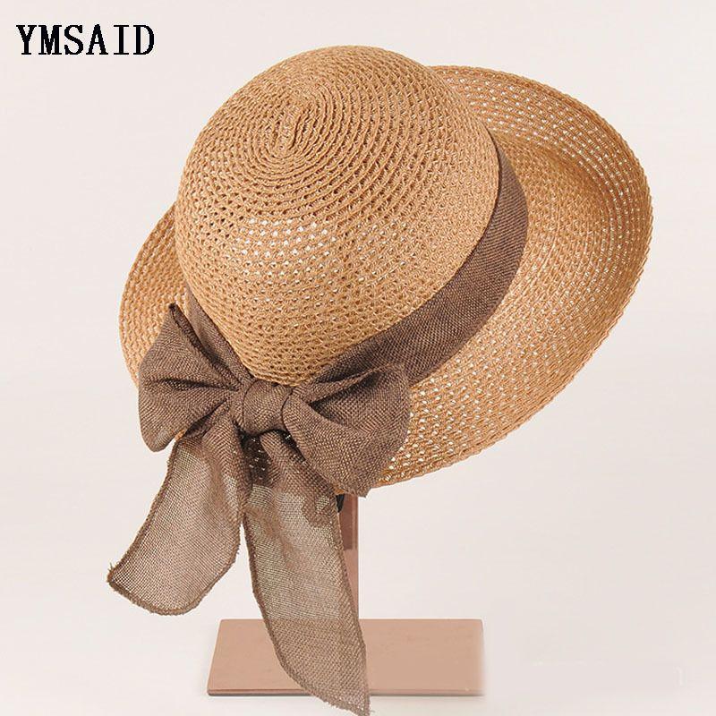 Compre Nueva Moda Plana Sombrero Para El Sol De Las Mujeres Del Arco Del Verano  Sombreros De Paja Para Las Mujeres Sombreros De Playa es Chapeau Femme ... 90d06baa463