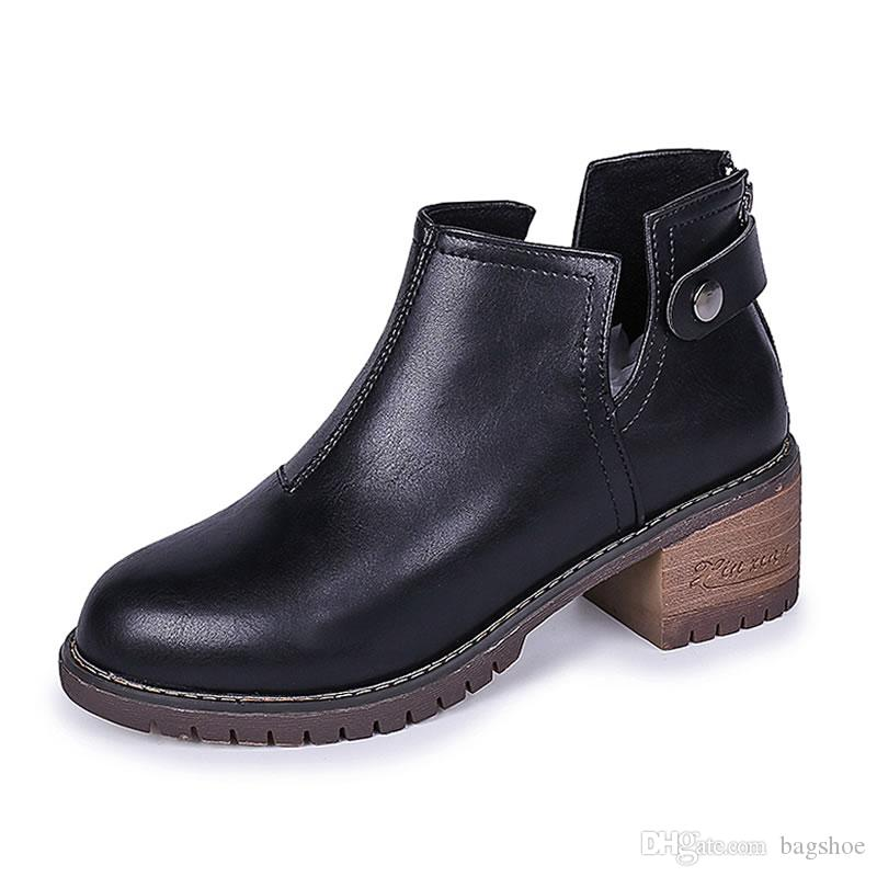 a928167ac6b New Martin Boots Female British Wind Chelsea Thick With Short Boots With  Wild Retro Short Boots Wedge Booties Boots Sale From Bagshoe