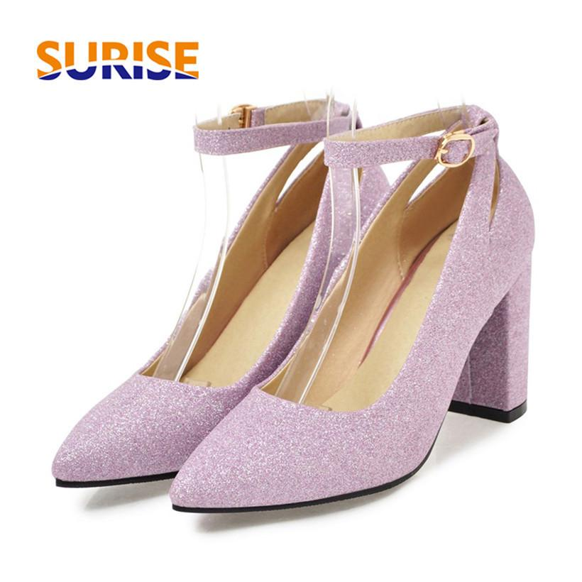 b6df2fe9d47e Dress Career Woman Pumps Bling Glitter Pu Leather High Chunky Square Block  Heel Pointed Toe Ankle Strap Gold Black Office Ladies Pumps Cheap Shoes  Online ...