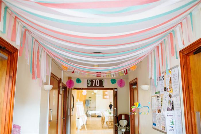 1 roll 4.5cmx25m Light Pink Crepe Paper Streamers DIY Paper Garland Photography Backdrops For Wedding Birthday Party Decoration