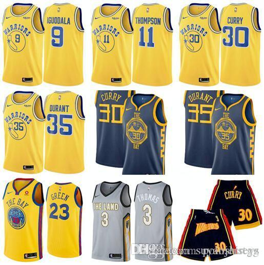 2019 Golden State 2018 2019 Warriors 9 Iguodala 35 Durant 30 Curry 11  Thompson Latest Yellow Navy Blue Jersey And Ball Pants. From Jack sparro 9b0f65028