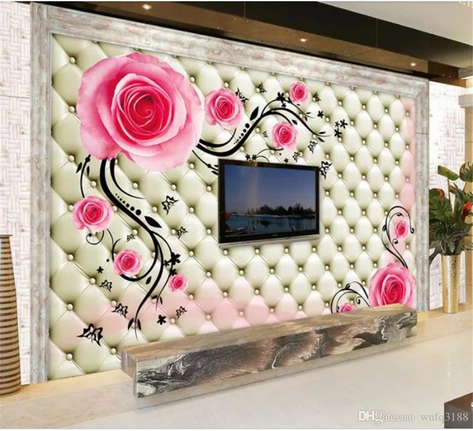 custom size 3d photo wallpaper living room mural leather flower vine pink rose 3d picture sofa TV backdrop wallpaper non-woven wall sticker