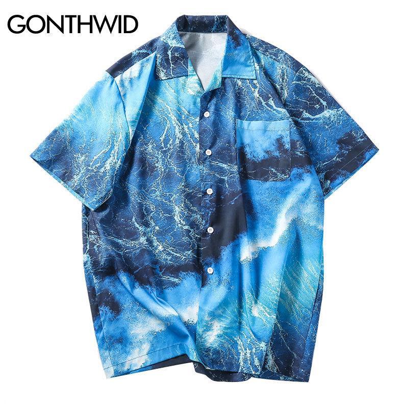 cb49051ea2bd2 Gonthwid Sea Wave Printed Beach Shirts Summer Men Hawaiian Aloha Party  Holiday Short Sleve Shirts Hip Hop Male Casual Streetwear C19041101