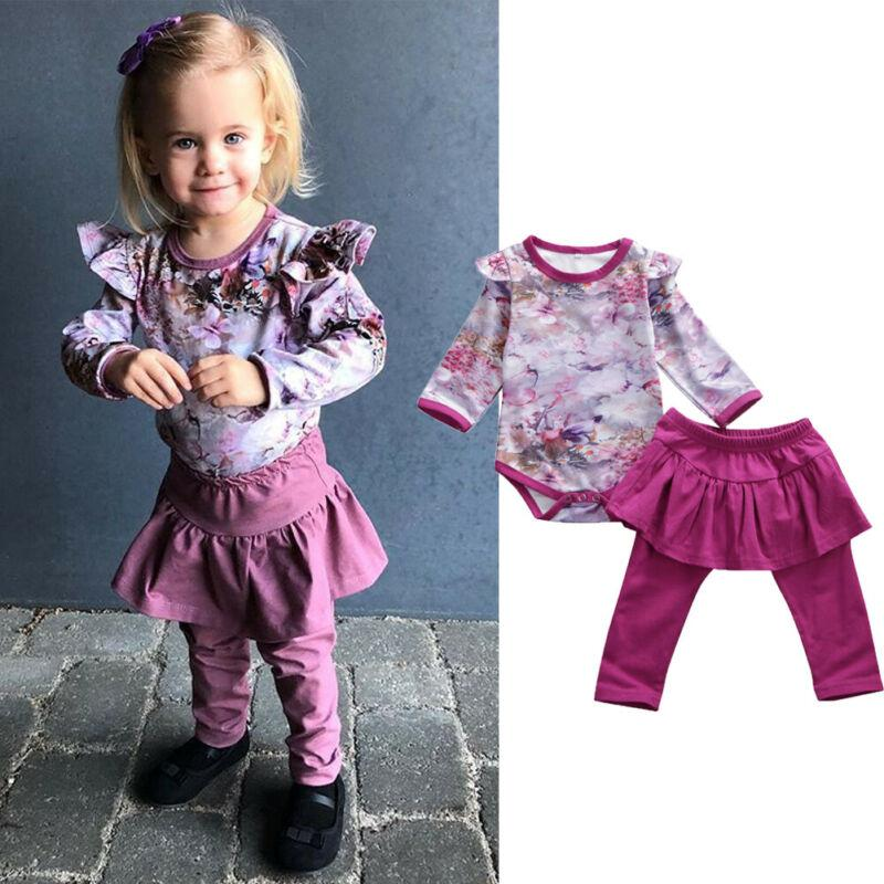 Toddler Kid Baby Girls Clothes Ruffle Long Sleeve Flower Top Romper Dress Leggings Pants Outfits Cute Lovely Warm 2Pcs Set 0-24M