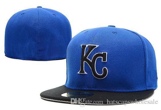 One Piece Royals Fitted Hats Blue Top Black Brim Baseball Embroidered Team  KC Letter Flat Brim Hats Baseball Size Caps Brands Sports Chapeu Womens  Baseball ... da9441afcf09