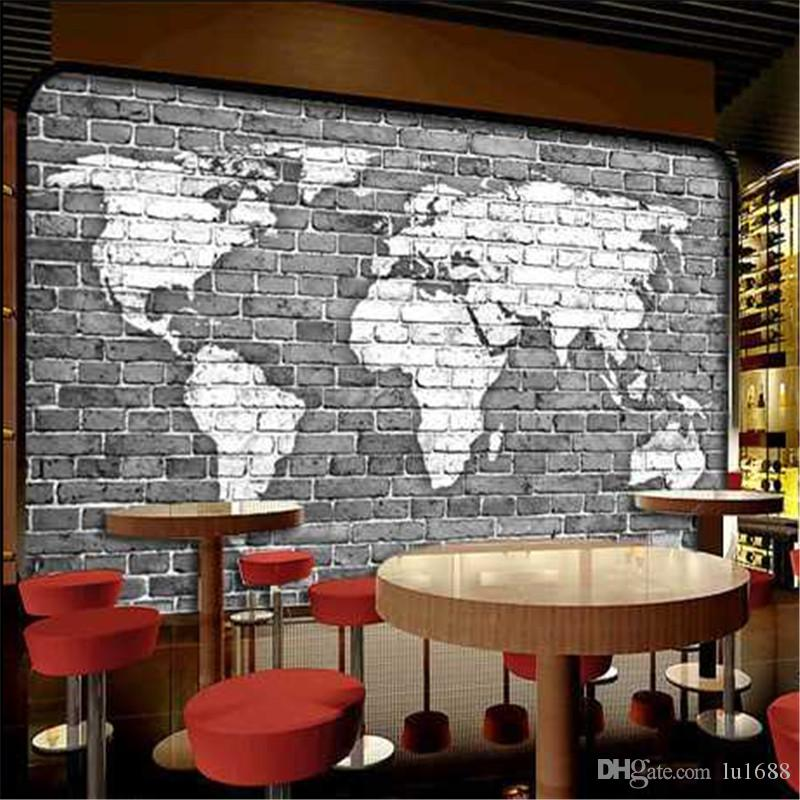 Grosse Benutzerdefinierte Papel De Parede Wandbild Tapete 3d Retro Nostalgie Personalisierte Bar Wohnzimmer Sofa Hintergrund Wand Weltkarte