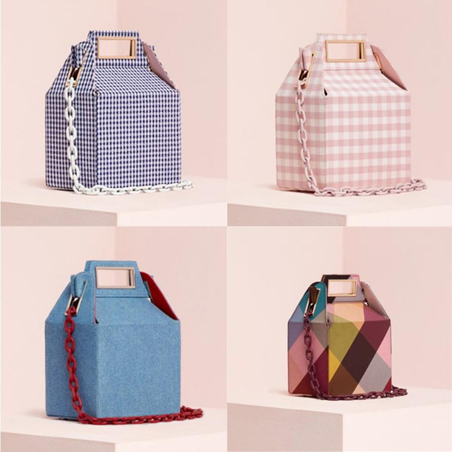 Ins Acrylic Chains Box Bag For Women Winter Corduroy Color Plaid Printing Handbags Lady Shoulder Bags Brands Design Clutch Purse