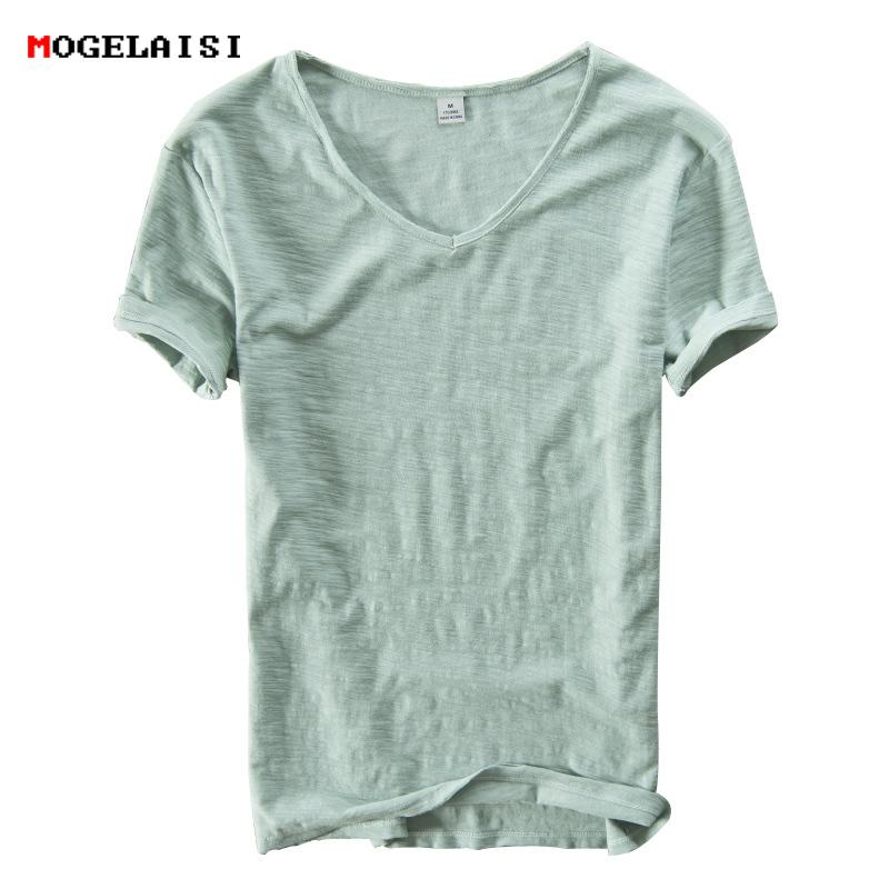 Summer Linen Cotton Shirt Short Sleeve V-neck Breathable Soft Loose Thin White T-shirt Men Asian Size M-xxxl 201 C19041901