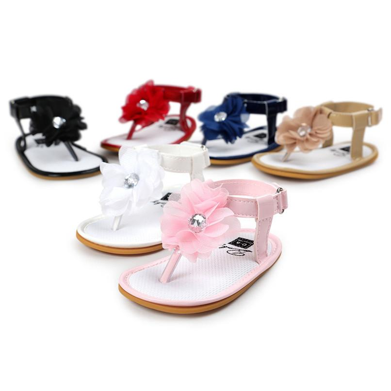 6 Color Summer Baby Girl Sandals Toddler Kids Baby Girls Flower Pearl Solid Sandals Princess Anti-slip Soft Sole Shoes A84L30