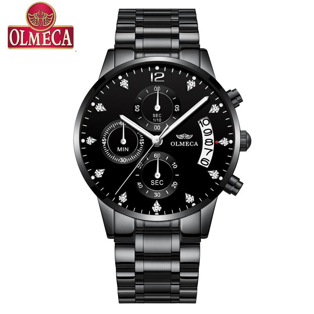 2d65f578e8f Compre 2018 Olmeca Preto Relógio De Quartzo Top Marca De Luxo Homens  Relógios Homem Moda Relógios De Pulso De Aço Inoxidável Relogio Masculino  Saatler De ...