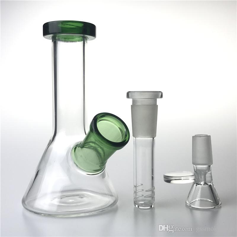 New 14mm Glass Water Bongs with 5 Inch Thick Unique Mini Heady Beaker Bong Downstem Glass Bowls Recycler Oil Rigs Smoking Pipes