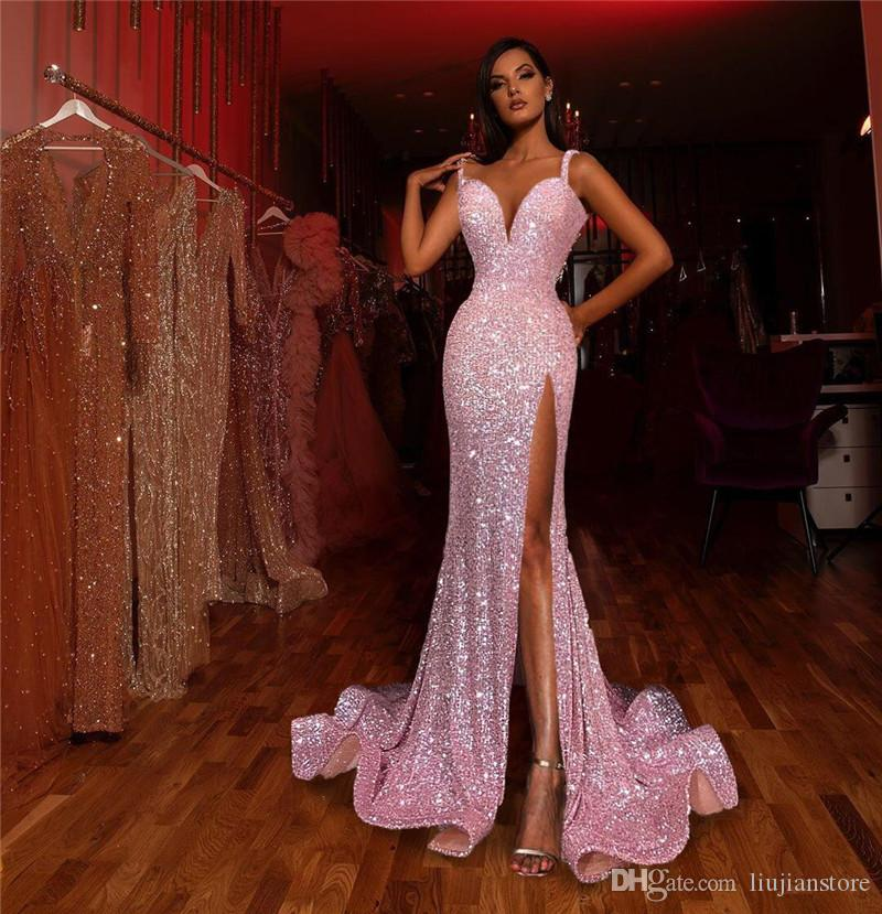 2020 Womens Wedding Party Dress Sexy Deep V Neck Sequins Dresses Fashion Backless Dresses with Split