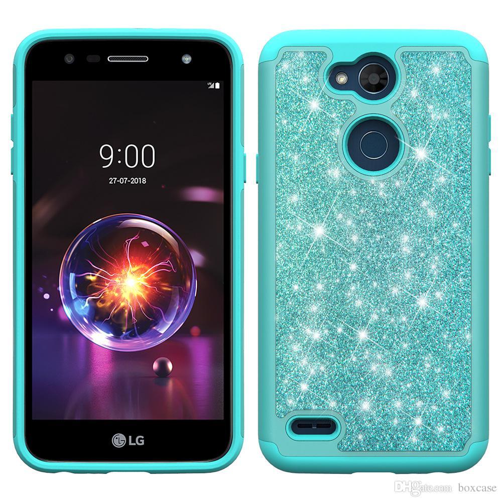 hot sale online c9710 3ba22 TPU PC Hybrid Glitter Bling Case for LG K10/Premier K8/Escape 3/Phoenix 2 X  Style/Tribute HD/Volt 3 Shockproof Protective Cover