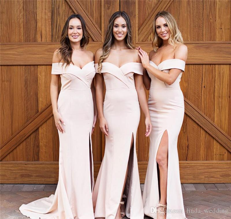 New Design Off Shoulder Bridesmaid Dresses 2019 Mermaid Summer Country Garden Formal Wedding Party Guest Maid of Honor Gowns Plus Size