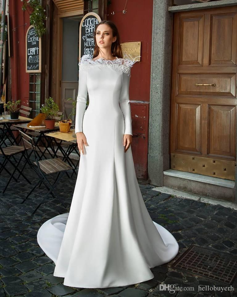 Princess Lace Bridal Ball Gowns Modest Country Wedding: Mermaid White Satin Long Sleeve Muslim Country Modest