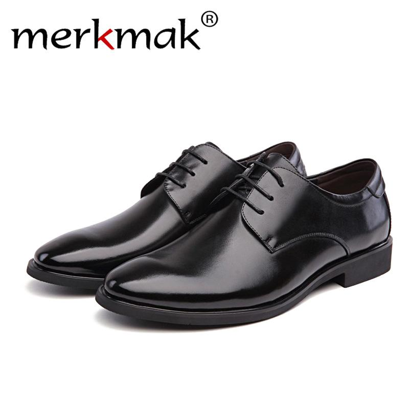 Merkmak 2019 Newly Men's Quality PU Leather Shoes Social Size 37-44 Top Head Leather Autumn Office Shoes Soft Man Dress