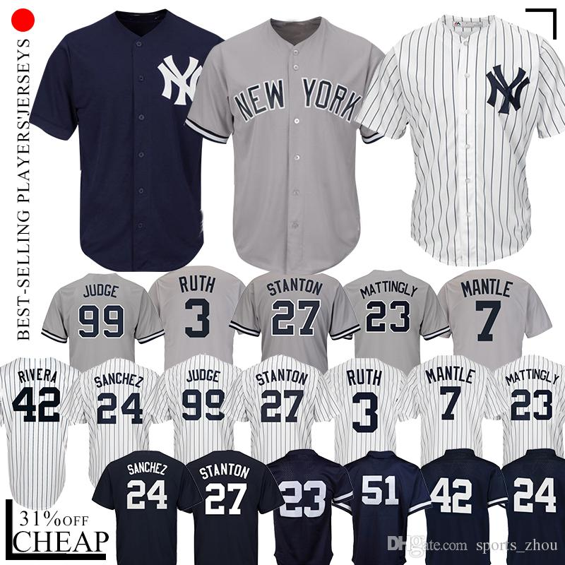 huge selection of 11a28 e1869 99 Aaron Judge Yankees jersey 2 Jeter 23 Mattingly 27 Giancarlo Stanton 3  Babe Ruth 7 Mickey Mantle 42 Mariano Rivera Baseball Jerseys