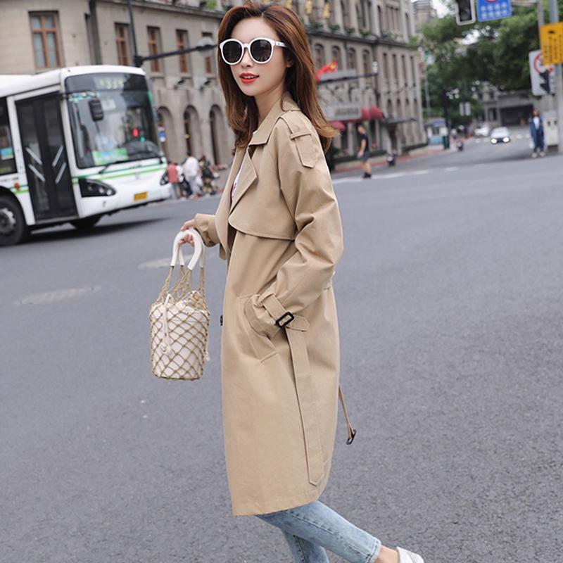5021d5489 Trench-coat femme 2019 printemps manteau coupe-vent de style britannique  femmes casual long trench pour vêtements pour femmes Bf kaki