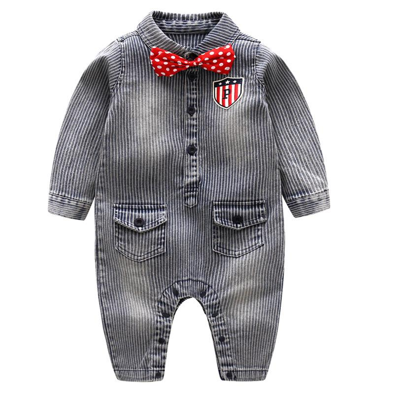 319aa98bc12c 2019 Striped Rompers For Baby Clothes Boys Denim Jumpsuit Newborn ...