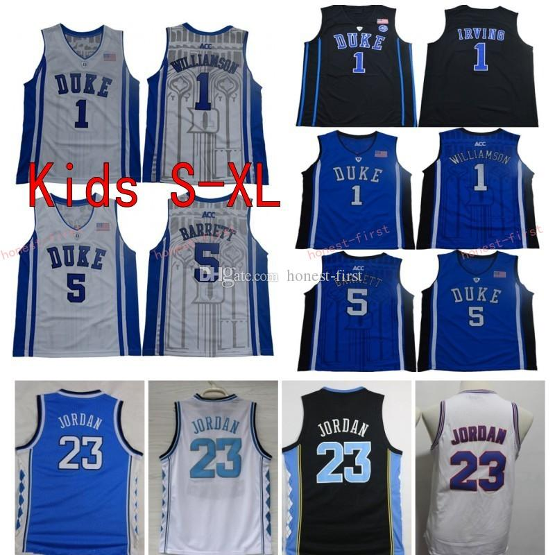 pretty nice ac314 491f7 Youth Duke Blue Devils College Basketball Jersey Boys 1 Zion Williamson 5  RJ Barrett Black 23 Michael North Carolina Tar Heels Kids Shirts