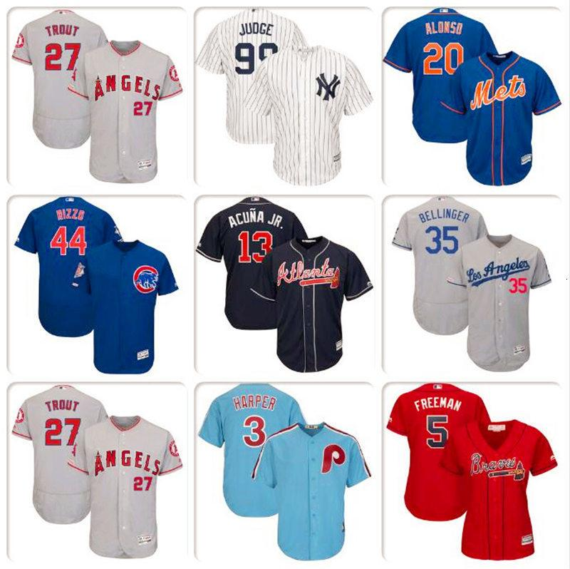Mens-Baseball-Shirt Bryce Harper Javier Baez Pete Alonso Cody Bellinger Mike Trout Ronald Acuna Jr. Nelson Cruz Trikots Greg Luzinski