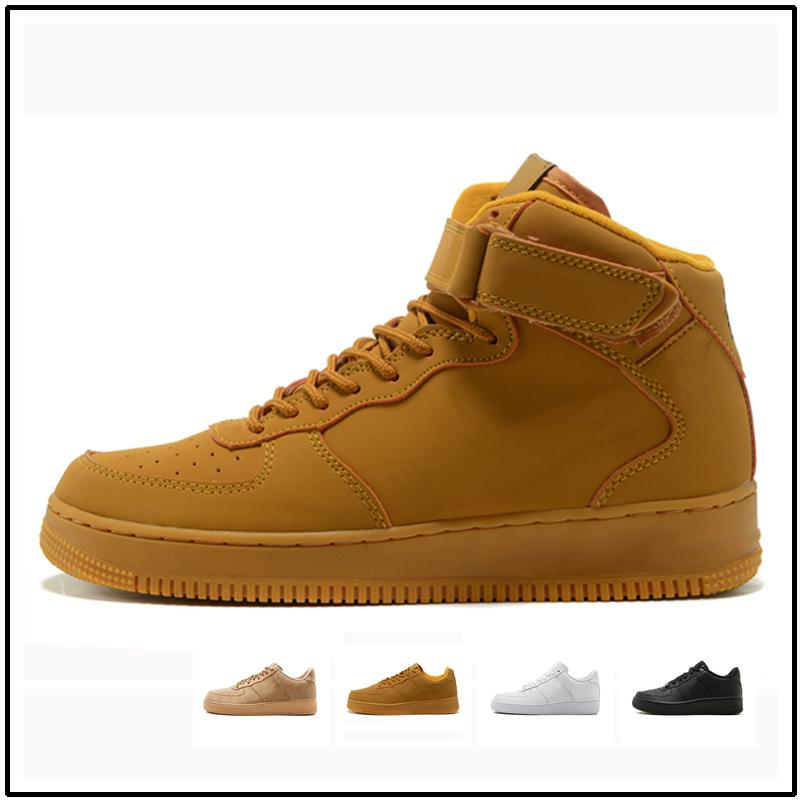 Casual shoes White One 1 Dunk Men Women Casual Shoes Sports Skateboarding Ones Running High Low Cut Wheat Brown Trainers Sneakers 36-45 kj10
