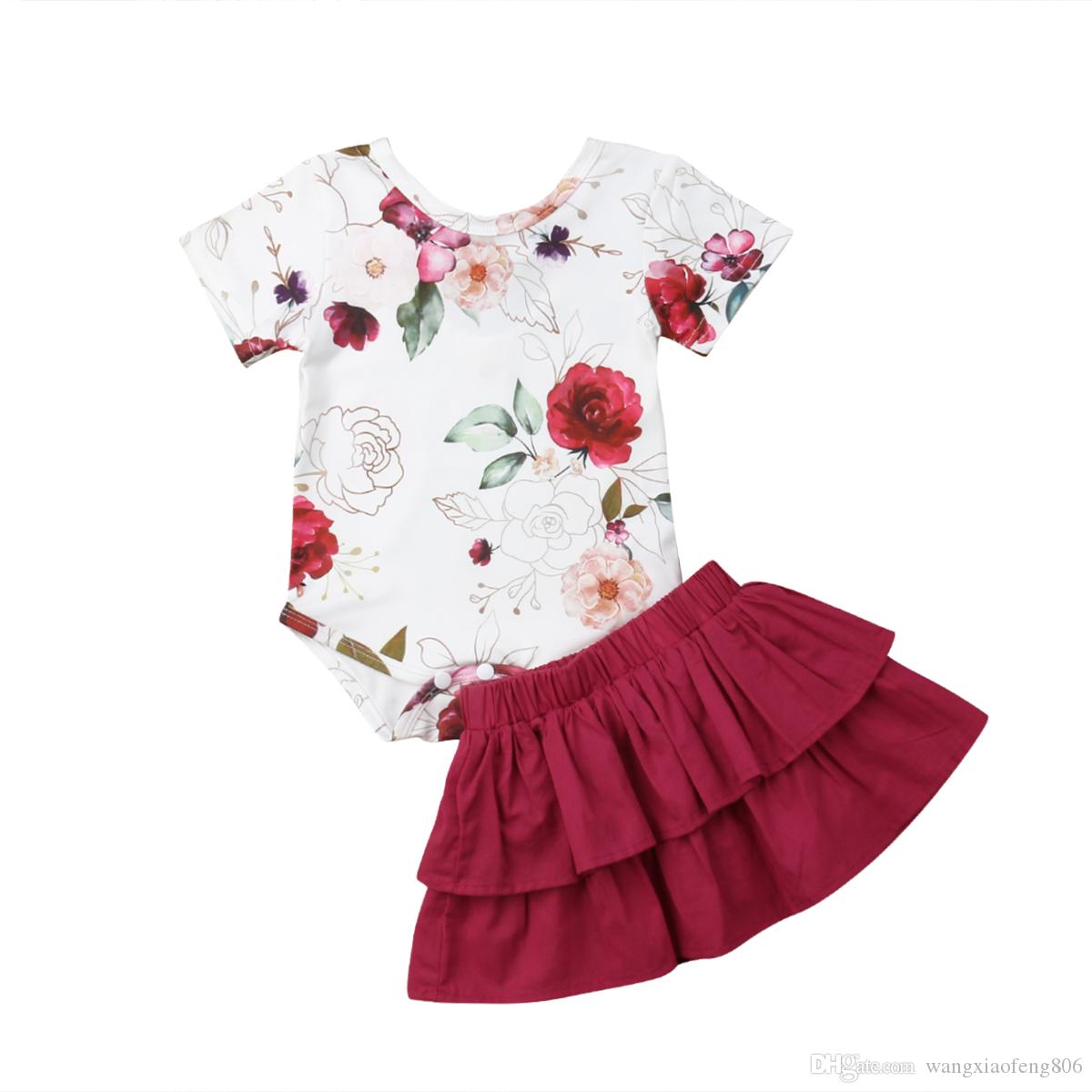 Baby Girl Clothes Set Newborn Princess Outfit Infant Floral Bodysuit+Tutu Mini Skirt Toddler Kid Summer Clothing Set0-18M