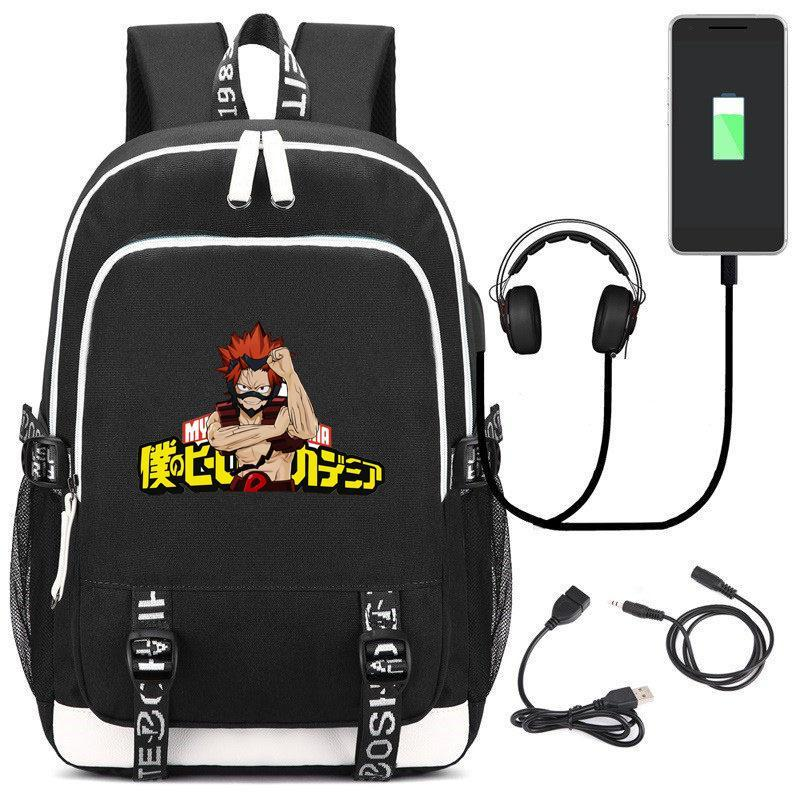 My Hero Academia backpack Kirishima Eijiro Anime Bookbag USB Charging Women Travel Bagpack Cartoon Men Bags Laptop school bag