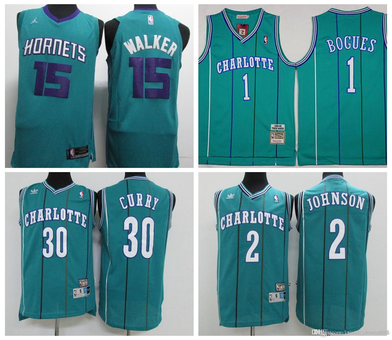 8b2b8b128f7 2019 Retro 2019 Hornets Charlotte Basketball Jersey 15 Walker 1 Bogues 30  Curry 2 Johnson Stitched Basketball Jerseys From Guo2214