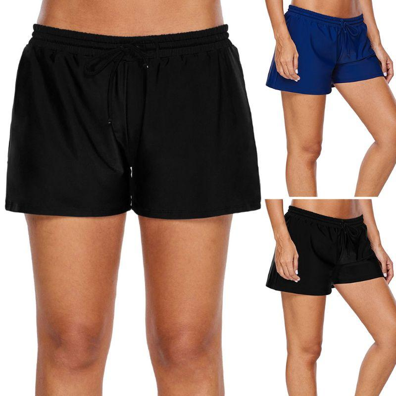 51e0b9c7650 2019 Women Summer Plus Size Stretch Board Shorts Adjustable Drawstring  Elastic Waistband Tankini Bottoms Solid Color Quick Dry Swim From Jigsaw,  ...
