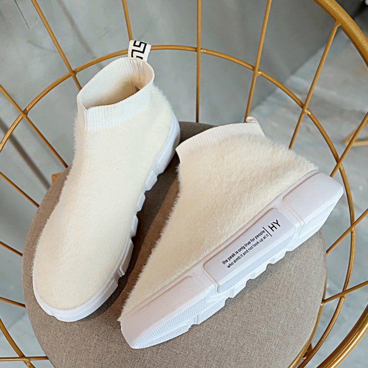 a36cee91f ... Invierno Zapatillas De Deporte Casuales Botines De Tobillo Con Botines  De Mujer Zapatos Sin Cordones Blanco Zapatos Negros A  26.48 Del  Chengdaphone009 ...