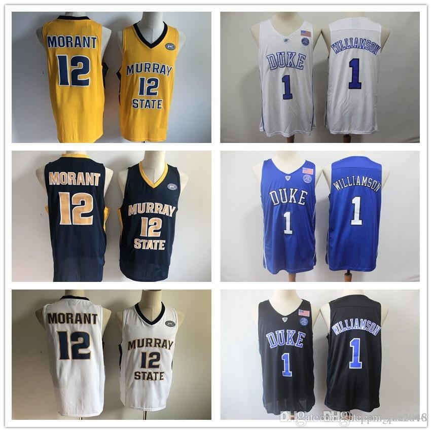 pretty nice 500a8 86459 NCAA #1 Zion Williamson Duke Blue Devils #12 Ja Morant Murray State College  Basketball Jerseys White Blue Black Stitched patches embroidered