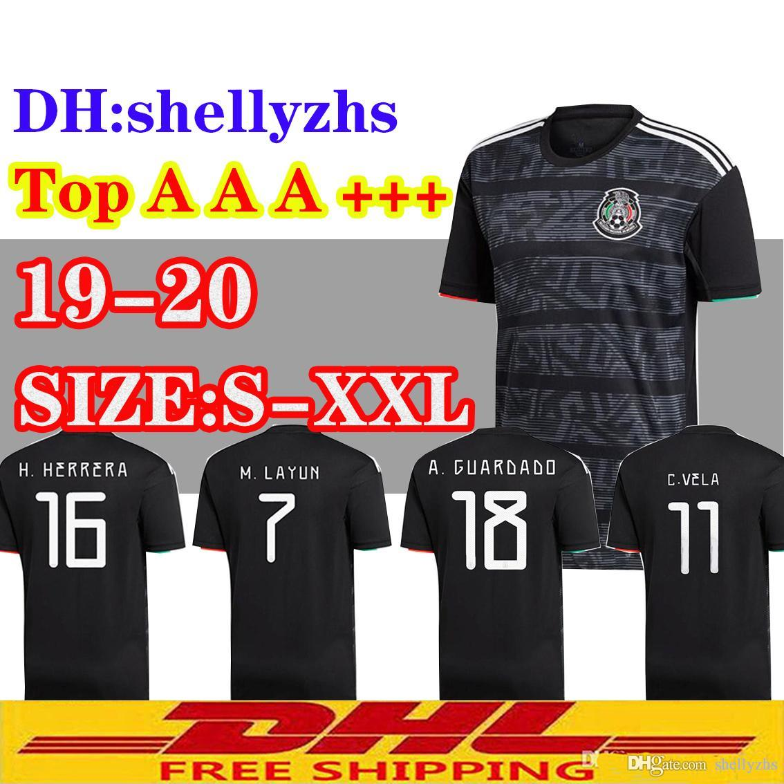 88842b8b5 2019 DHL 2019 20 Mexico Soccer Jerseys 2019 2020 Mexico Away Black Football  Shirt Size Can Be Mixed Batch. From Shellyzhs