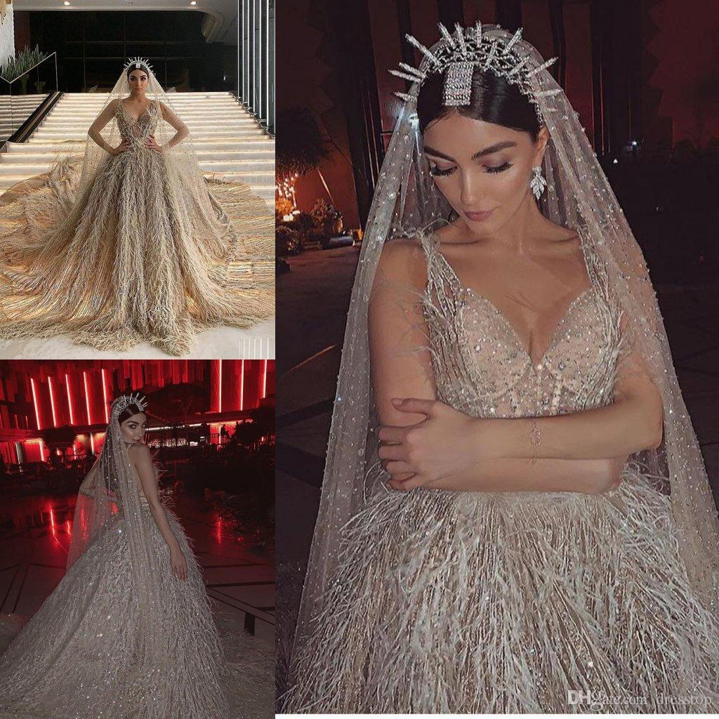 Luxury Cathedral Train Wedding Dresses Lace Sleeveless Champagne Crystal Feathers Chapel Wedding Gowns With Veil Custom Made