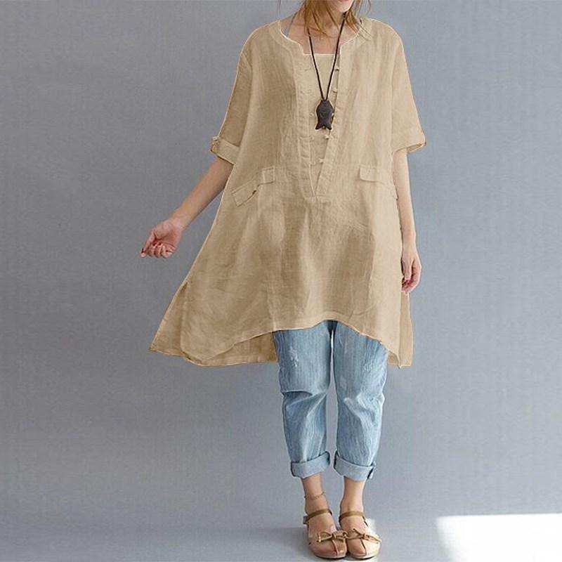 cbdb1b980822b 2019 2019 Summer Zanzea Women Cotton Linen O Neck Short Sleeve Party ...