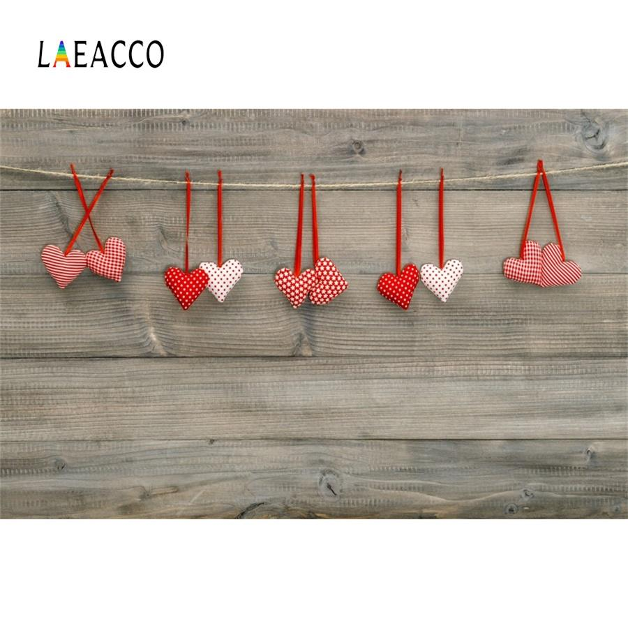Laeacco Love Heart Wooden Boards Happy Valentine's Day Stage Scene Photographic Backdrop Photography Background For Photo Studio