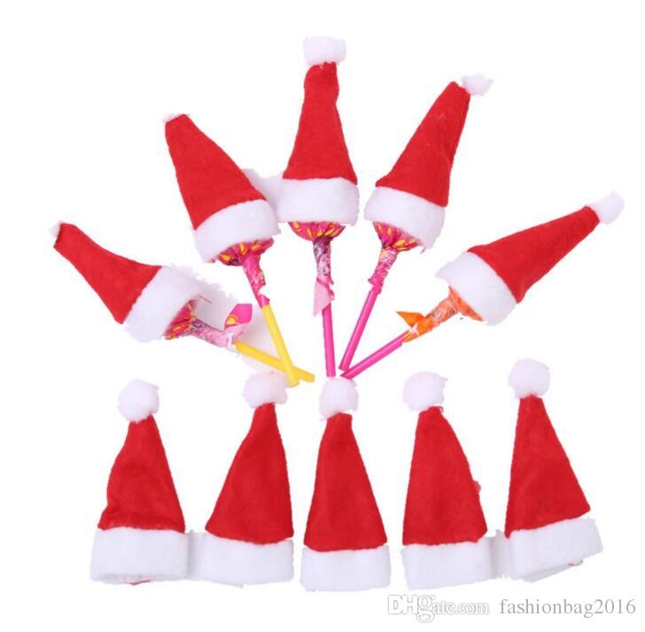 Mini Christmas Santa Claus Hat Candy Lollipops Cap Home Merry Christmas Decorations Kids Gift