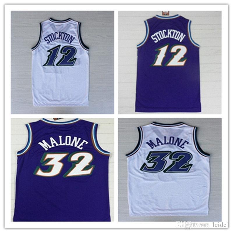 check out 30582 3a6c5 Top Sell #12 John Stockton Jersey ,Shirt Wholesale Cheap #32 Karl Malone  Black Purple white embroidery Stitching Basketball Jersey
