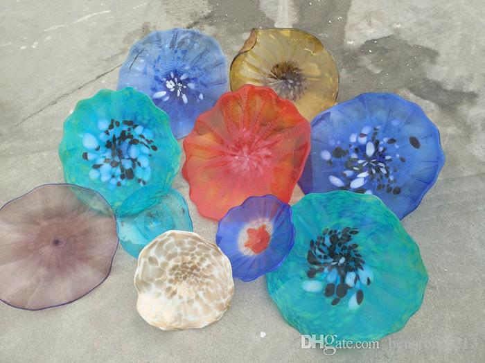 Luxury Handmade Blown Murano Glass Wall Plates Flower Design Mouth Blown Glass Wall Lamps Multi Color Hanging Plates Wall Art