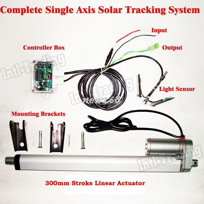 Freeshipping 1KW Complete Single Axis Solar Tracking System Kit- 300mm  Linear Actuator &Electric Controller For PV Sunlight Solar Tracker