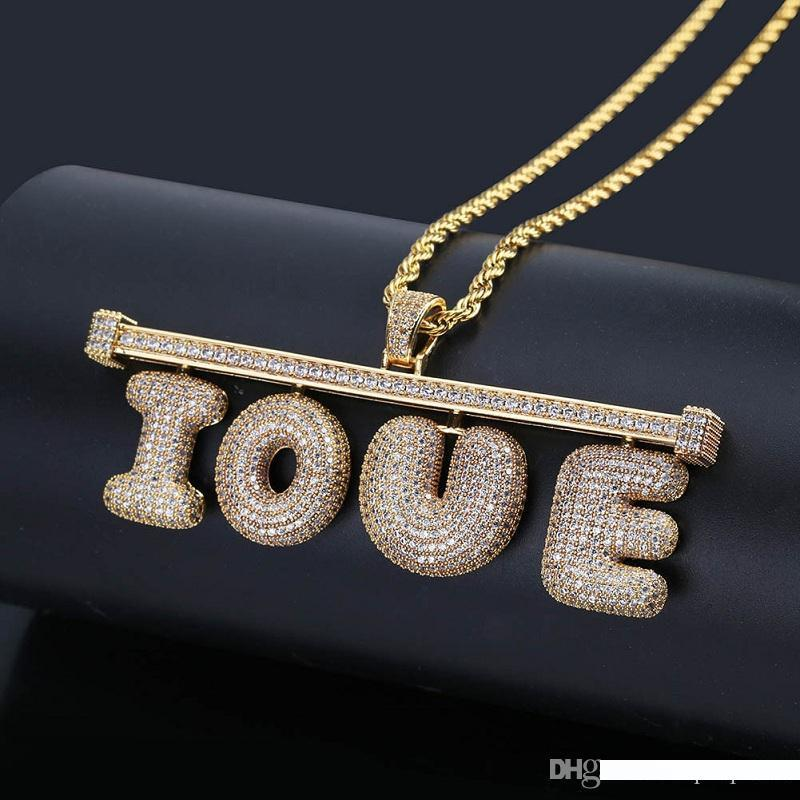 Custom Name Bubble Letter Necklace Mens Hip Hop Gold Silver Copper Necklaces DIY Combination Letter Pendant Necklace Jewerly