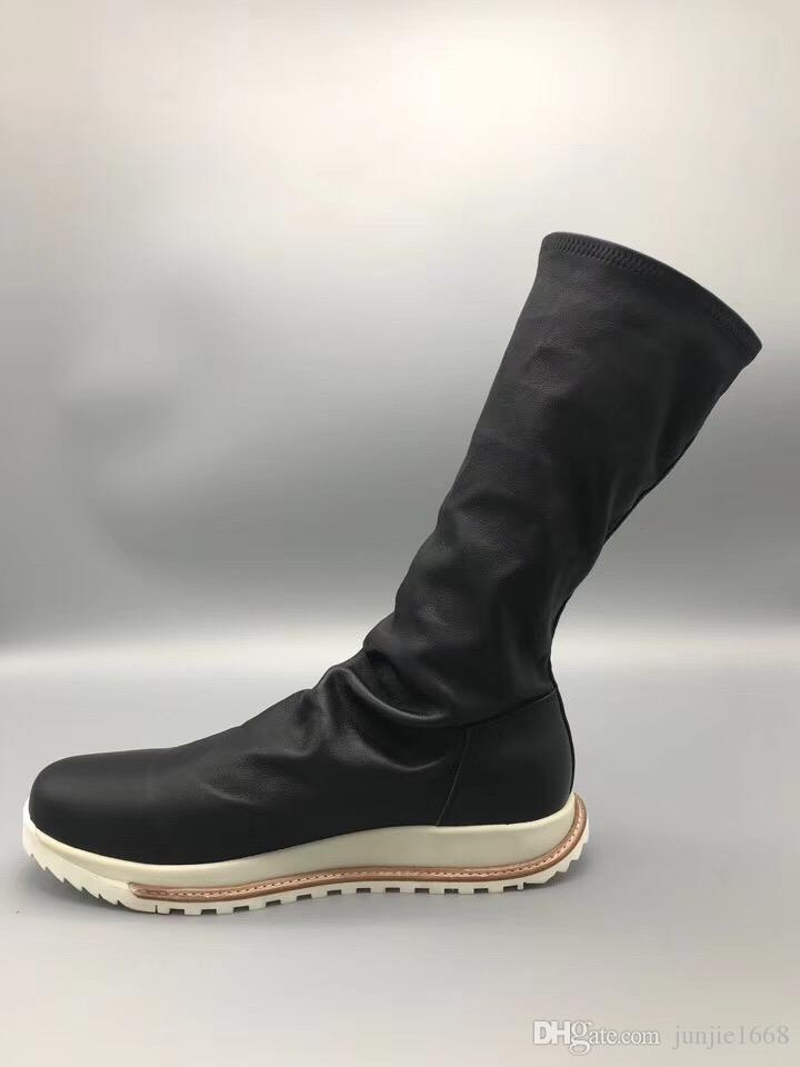 Elastic cotton sheepskin rubber sole boots Italy imported tree cream leather strip long boots PU shock insoles high-end fashion men's boots