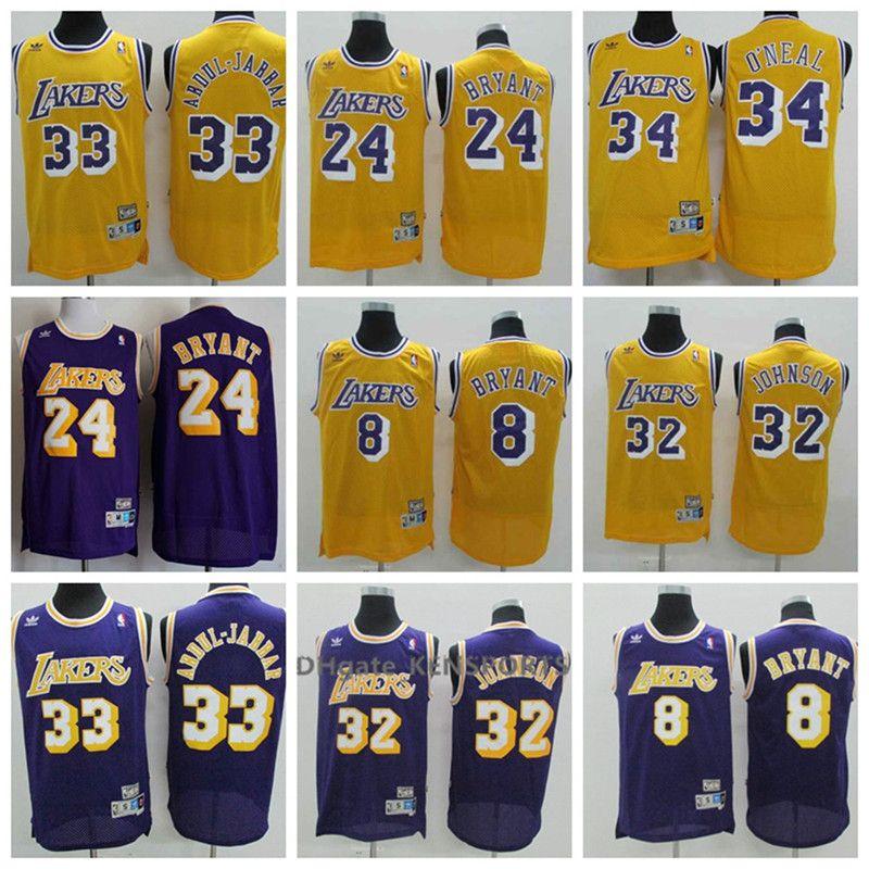 online store a2e6d ede1b Men Retro Los Angeles Basketball Lakers Jersey 8 24 Bryant 34 O'Neal 32  Johnson 33 Abdul-jabbar Jerseys