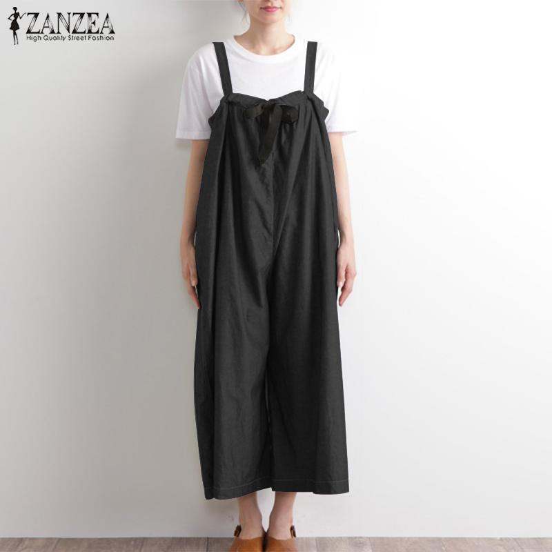 e065d50026 2019 2019 ZANZEA Summer Strappy Long Jumpsuits Women Casual Solid Loose  Wide Leg Pants Vintage Sleevelss Dungarees Overalls Romper From  Finebeautyone