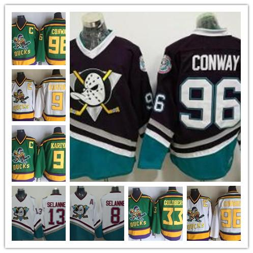 Mighty Ducks Movie Jersey 96 Charlie Conway Hockey Green Jersey S L XL,XXL M